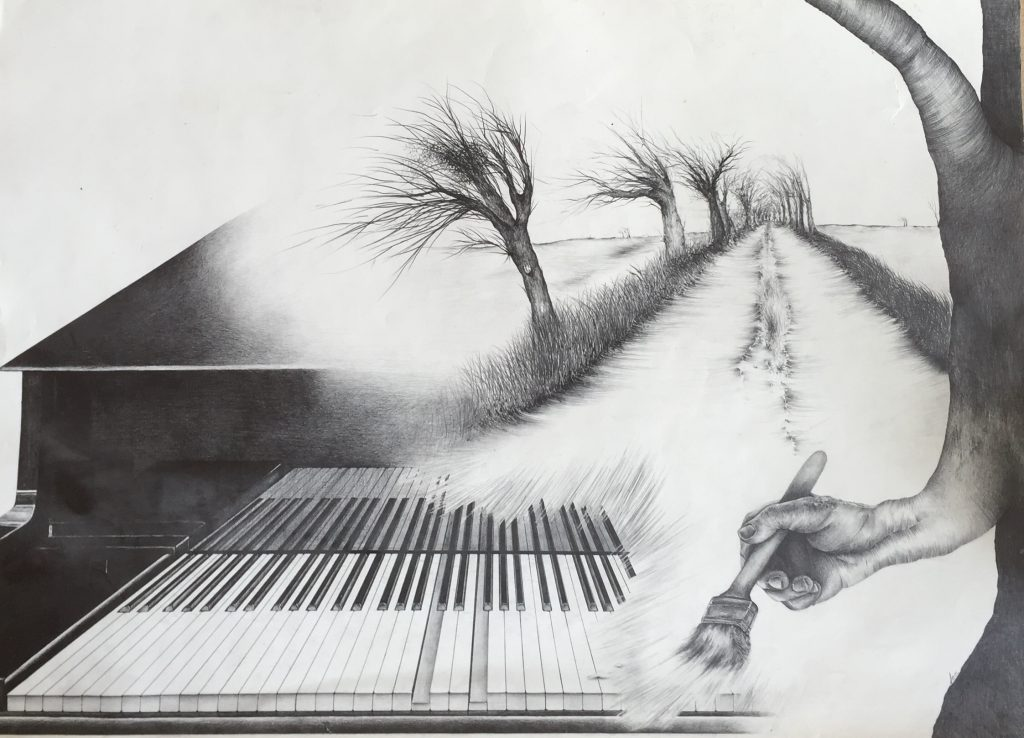 Ballade no 1, Chopin et Robert - Mine de plomb  1982